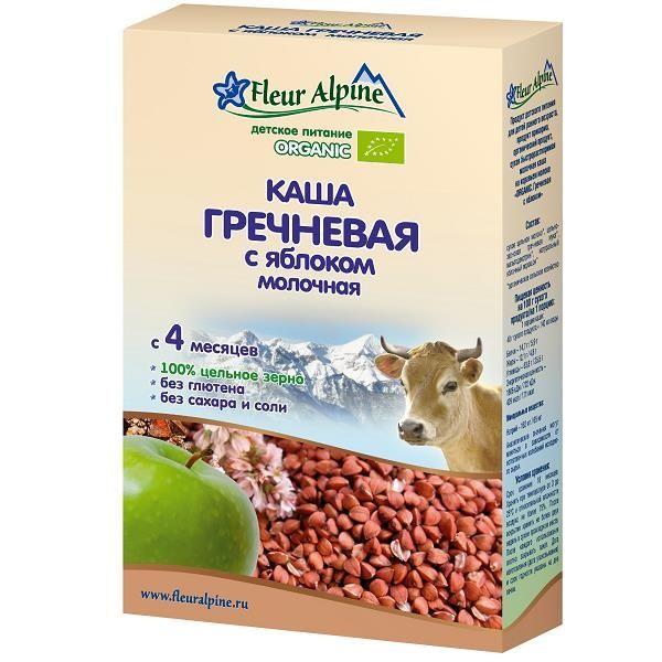 Флёр Альпин - каша молочная Органик гречневая с яблоком, 4 мес., 200 гр.