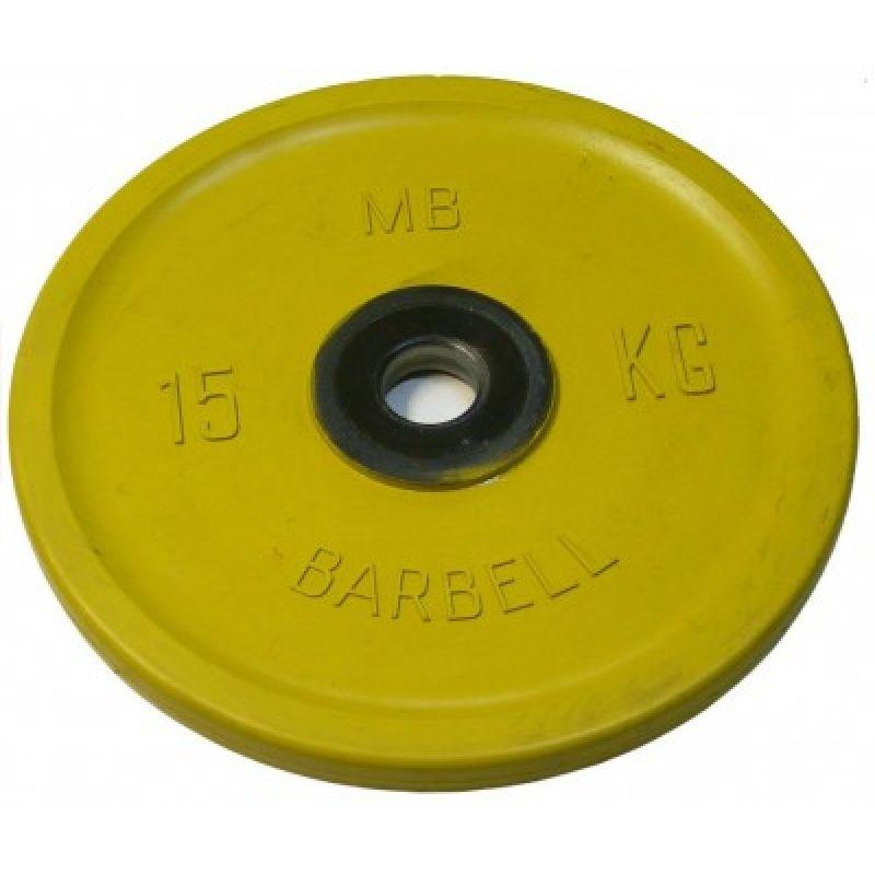 Диск цветной обрезиненный Два хвата MB Barbell Евро-классик 15кг (Д-51-мм)