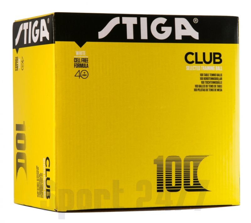 Мячи теннисные пластиковые Stiga Club 1* 40+ (Белый) 100 шт 1110-0510-10