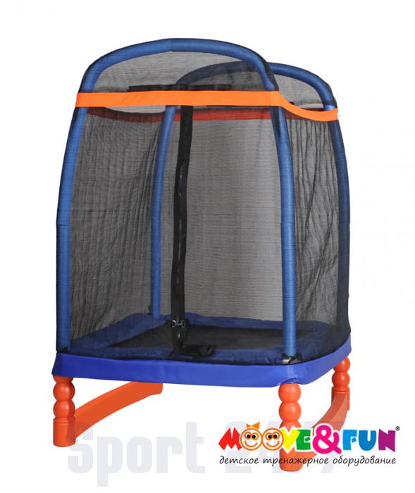 Батут детский 120х120 см с защитной сеткой Moove&Fun (батут/ сухой бассейн)