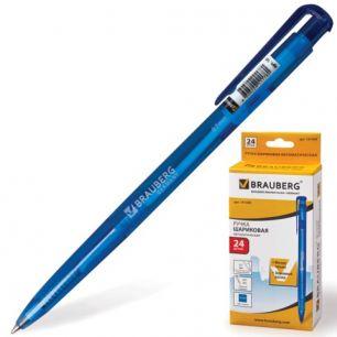 """Ручка шариковая BRAUBERG (БРАУБЕРГ) автоматическая """"Dialog"""", корпус синий, толщина письма 0,7 мм, синяя, 141509"""