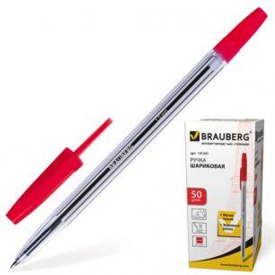 """Ручка шариковая BRAUBERG """"Line"""" (БРАУБЕРГ """"Лайн""""), корпус прозрачный, толщина письма 1,0 мм, красная, 141341"""