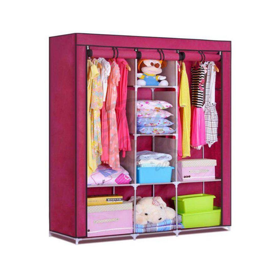 Складной каркасный тканевый шкаф Storage Wardrobe розовый ( 130*170*45 см)