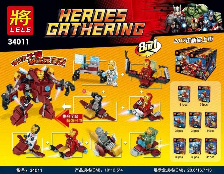 """LELE HEROES GATHERING """"Железный Человек 8 В 1"""" 285 деталей NO.34011"""