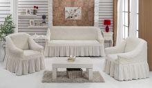 "Набор чехлов для дивана ""BULSAN"" + 2 кресла  (кремовый) Арт.1799-6"