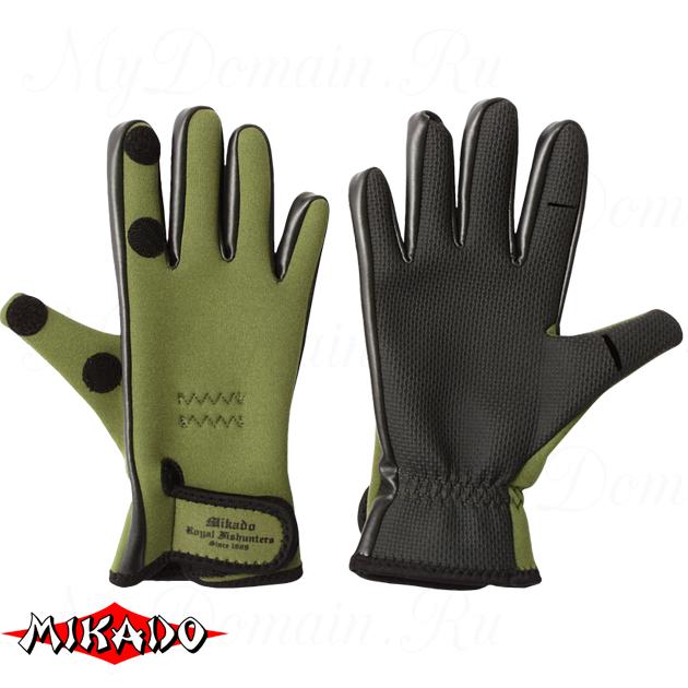 Перчатки рыболовные неопреновые Mikado UMR-03 размер L, шт