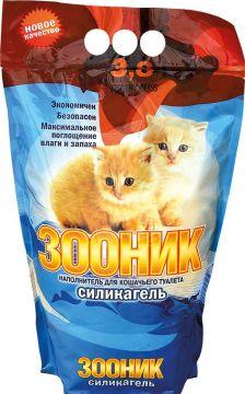 Наполнитель силикагелевый Зооник для кошек 3,8л