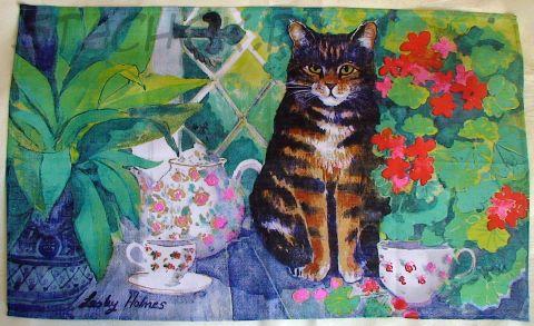"""Коллекционное-полотенце-панно """"Кошечка и цветы"""""""