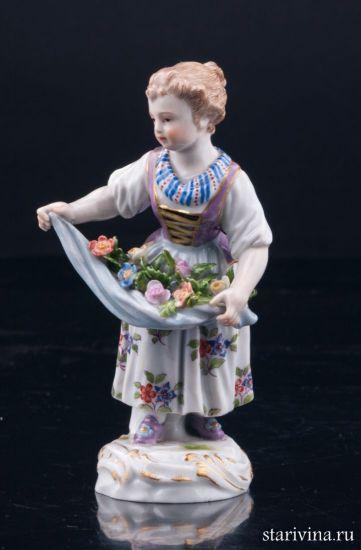 Изображение Девочка с цветами в подоле, Meissen, Германия, 19 в