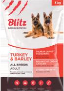 Blitz Adult сухой корм для взрослых собак всех пород с индейкой и ячменем 3 кг