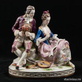 Прекрасная пара с музыкальными инструментами, Ludwigsburg, Германия, кон.19 - нач.20 века