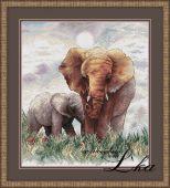 """Схема для вышивки крестом """"Слоны""""."""