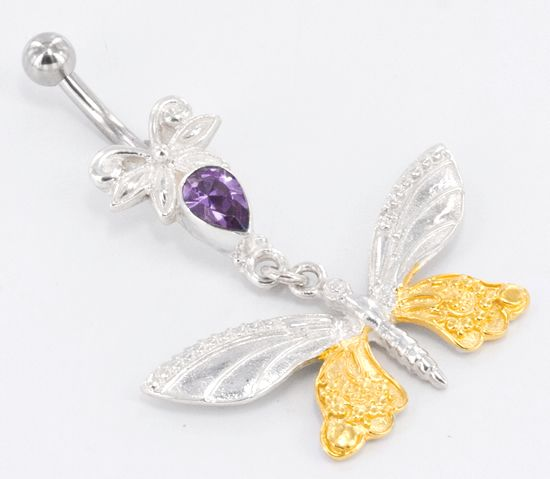 Butterfly GOLD PLATED Belly Button Jewelry