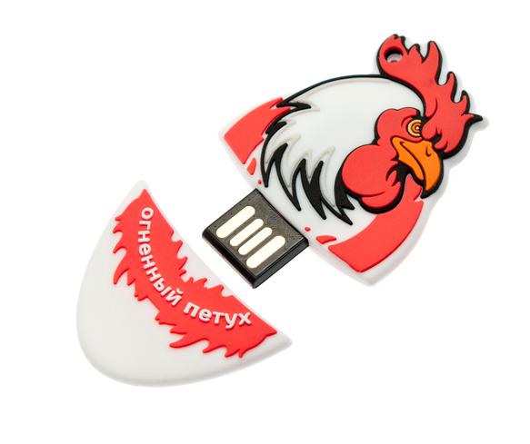 8GB USB2.0 флеш накопитель UsbSouvenir Сувенирная флэшка огненный петух из резины красный