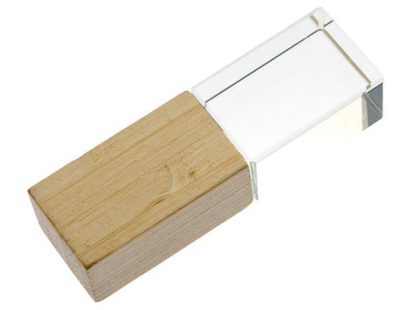 16GB USB-флэш накопитель Apexto UL-5033wide сстеклянный, дерево светлое, бамбук, синий LED