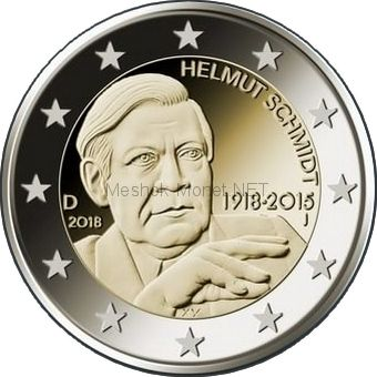 Германия 2 евро 2018, 100 лет со дня рождения 5-го федерального канцлера ФРГ Гельмута Шмидта