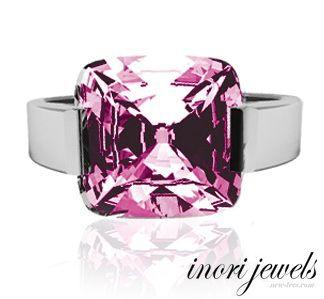 Кольцо Inori с крупным розовым цирконом