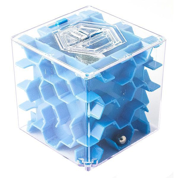 Копилка - головоломка Лабиринт New 65 мм синяя