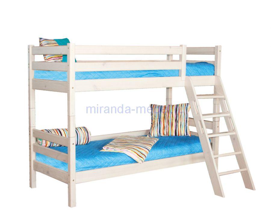 Двухъярусная кровать Соня с наклонной лестницей (вариант 10)
