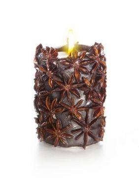 Свеча-эко ручной работы SPICY NIGHT dark со звездочками аниса