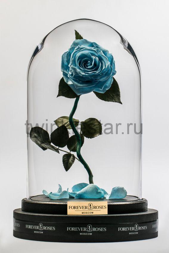 Роза в колбе (голубая) на изогнутом стебле, 33 см