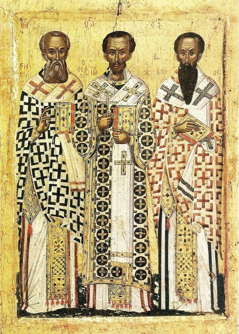 Икона Собор трех Святителей (копия старинной)