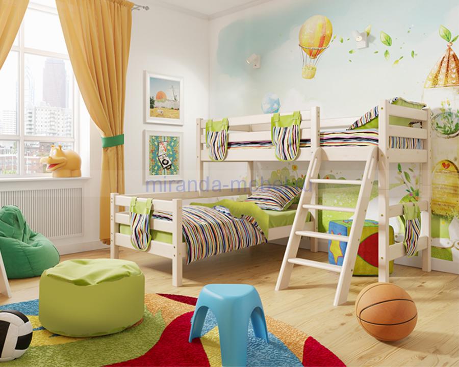 Двухъярусная кровать Соня с прямой лестницей или наклонной лестницей