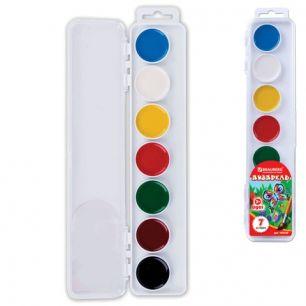 Краски акварельные BRAUBERG, 7 цветов, медовые, увеличенные кюветы, без кисти, пластиковая коробка, 190549