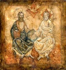 Икона Новозаветная Троица - Сопрестолие (копия старинной)