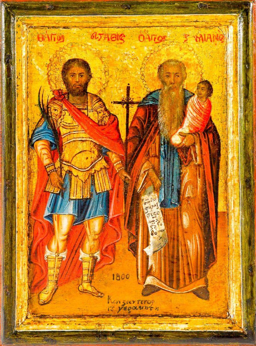 Икона Стилиан и Евстафий Плакида (копия 19 века)