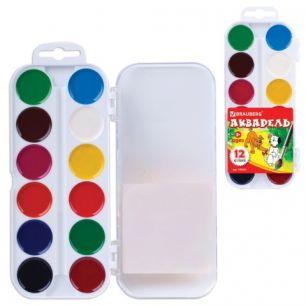 Краски акварельные BRAUBERG, 12 цветов, медовые, без кисти, пластиковая коробка, европодвес, 190551