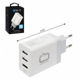 Сетевое зарядное устройство Qumo Quick Charge 3.0, 2А 3USB