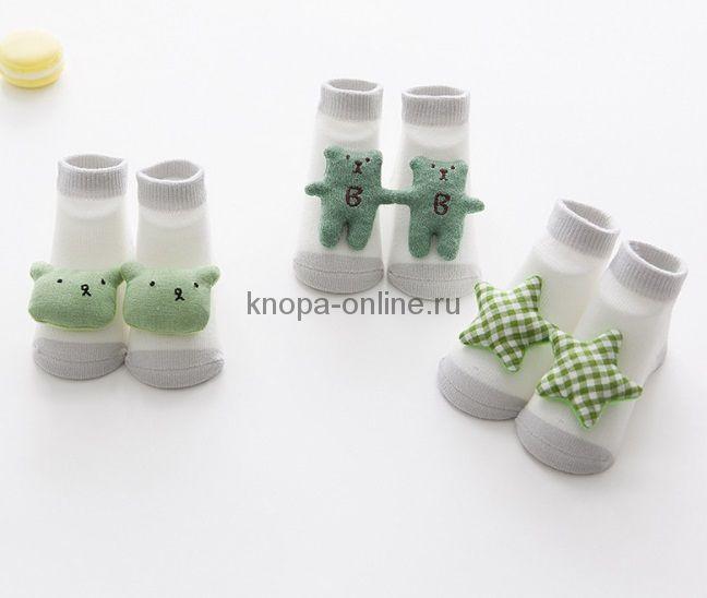 Носочки с игрушкой, набор - 3 шт., зеленый
