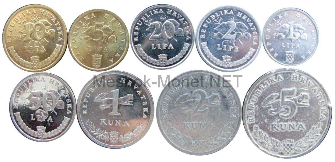 Набор монет Хорватии (9 монет)