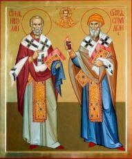 Николай Чудотворец и Спиридон Тримифунтский (икона на дереве)