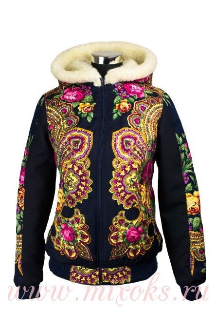 "Куртка павлопосадский платок на овчине ""Весения"""