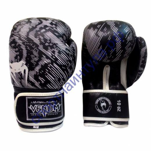 Боксерские перчатки VENUM кожа F789 10 oz черно-белые