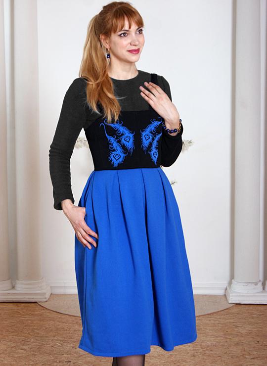 Черно-синее платье-сарафан