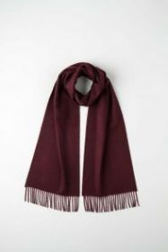 однотонный кашемировый шарф (100% драгоценный кашемир), цвет Портвейн Port Classic cashmere, высокая плотность 7