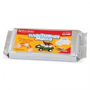 Пластичная масса для моделирования и лепки BRAUBERG отвердевающая, 500 г, белая, высшее качество, Таиланд, 224443