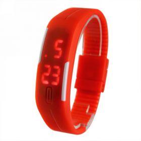 Спортивные силиконовые LED часы браслет красные