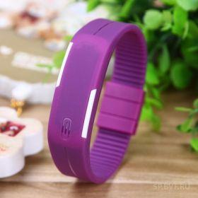 Спортивные силиконовые LED часы браслет фиолетовые