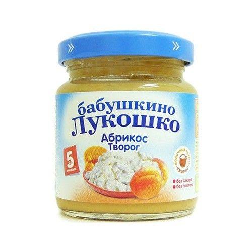 Пюре Бабушкино Лукошко абрикос с творогом 100г