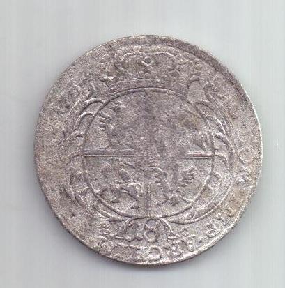 1/4 талера -18 грошей 1754 г. Польша. Саксония