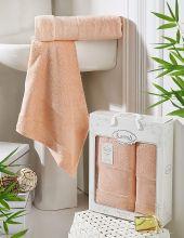 Комплект из 2-х бамбуковых полотенец PANDORA 50*90+70*140(абрикосовый) Арт.2197-9