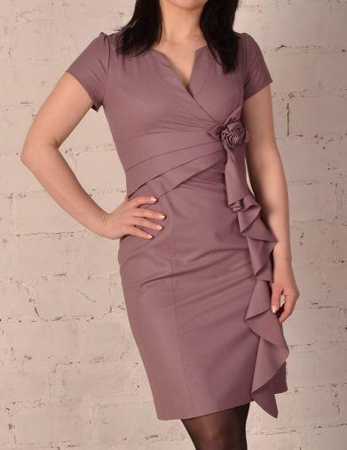 Элегантное платье с коротким рукавом цвета пудра