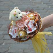"""Букетик с мишкой и конфетами №707-1К """"Модница"""""""