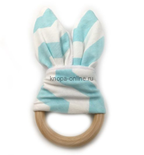 Деревянный грызунок с ушками - Голубой