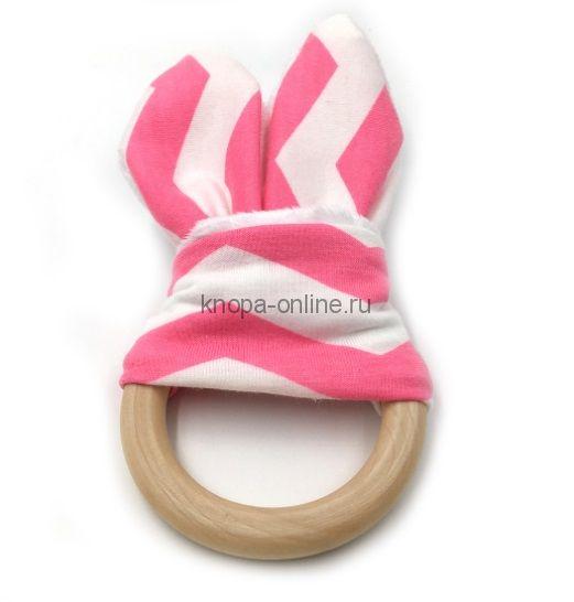 Деревянный грызунок с ушками - Розовый