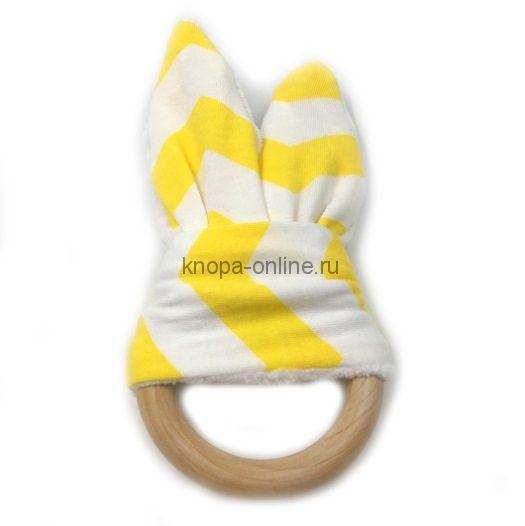 Деревянный грызунок с ушками - Желтый